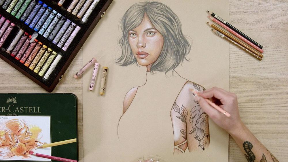 Ilustración con pastel y lápices de colores